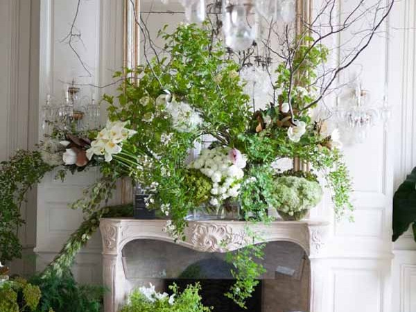 Ornate Fireplace Mantle floral design of all green foliage and white flowers.  via:groundcovers